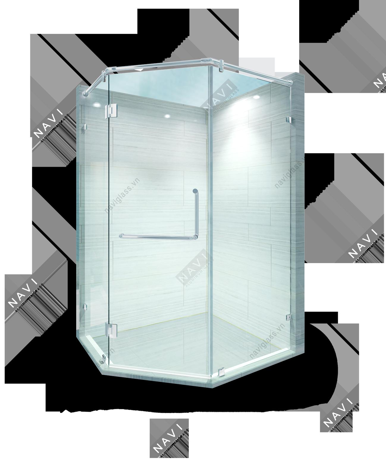 Phòng tắm kính 135 độ kính - kính