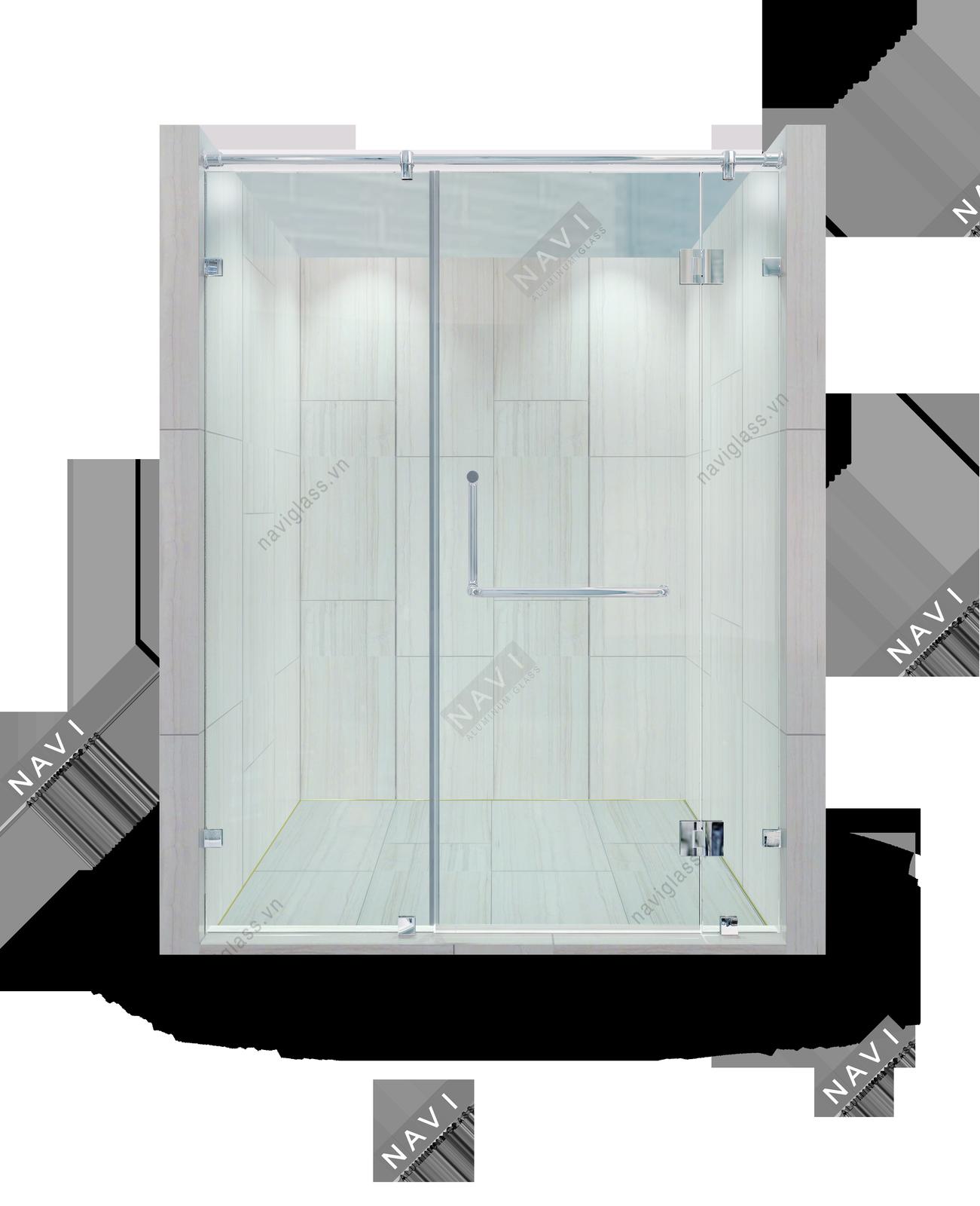 Phòng tắm kính 180 độ kính – kính