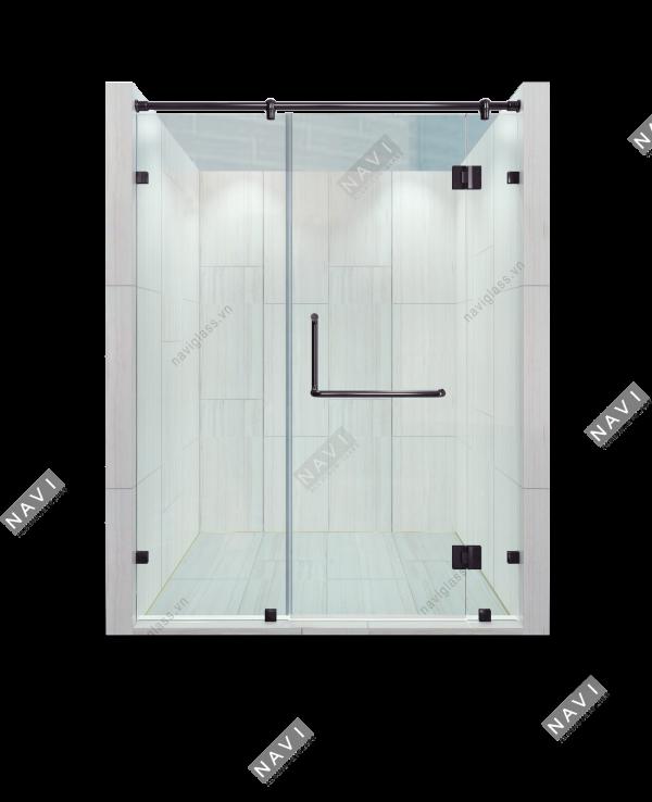 Phòng tắm kính phụ kiện màu đen