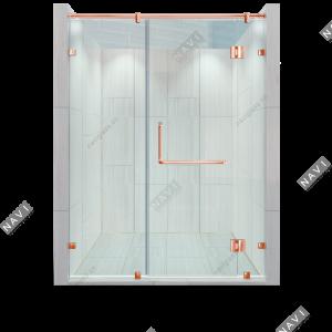 Phòng tắm kính 180 độ phụ kiện màu vàng hồng