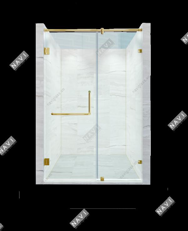 Phòng tắm kính phụ kiện màu vàng