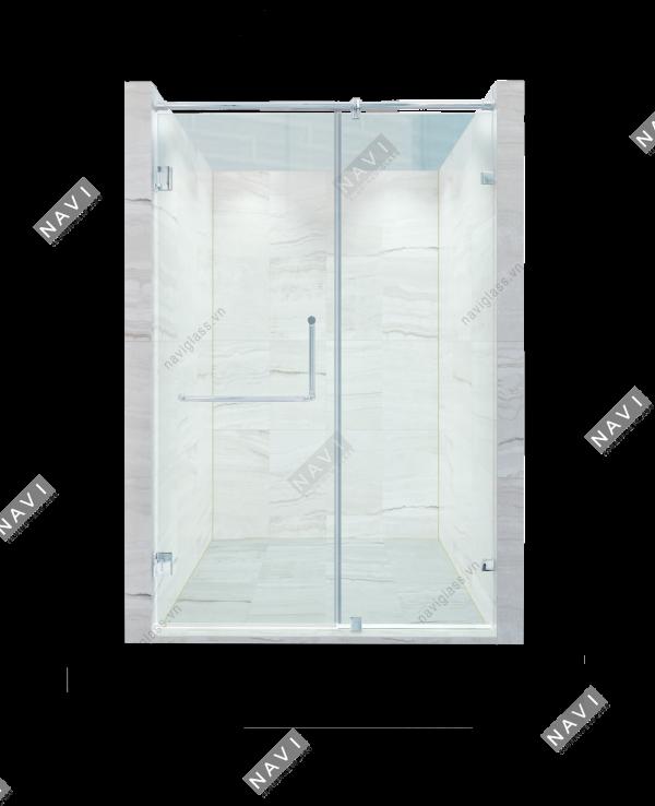 Phòng tắm kính 90 độ tường - kính